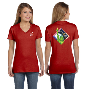 Launch Four Hanes Ladies' 4.5 oz., 100% Ringspun Cotton nano-T® V-Neck T-Shirt