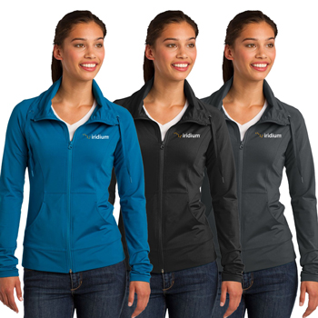 Ladies' Sport-Wick® Stretch Full-Zip Jacket - A stretchy, moisture-wicking performance jacket with a soft-brushed backing and unique cowl collar.