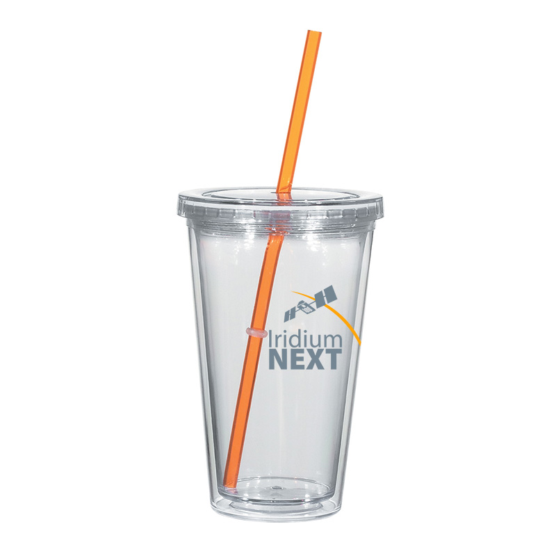 "16 oz. Double Wall Acrylic Tumbler with Straw - BPA free, stain resistant tumbler with a 9"" straw."