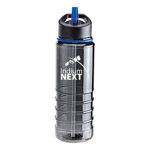 Perseo 25 oz. Tritan Water Bottle - Pack of 2 - This BPA-free Tritan bottle has a smoky body, matching color band, ribbed grip area, flip drinking spout, straw and handle.