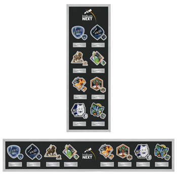 Iridium NEXT Patch & Lapel Pin Frame - The Iridium NEXT Patch & Pin Frame features Iridium NEXT patches and lapel pins from each of the eight Iridium NEXT launches.