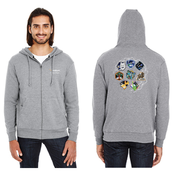 Iridium NEXT Launch Program Threadfast Apparel Unisex Triblend French Terry Full-Zip - Unisex Tri-Blend Full-Zip.